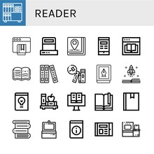 Set Of Reader Icons Such As Bo...