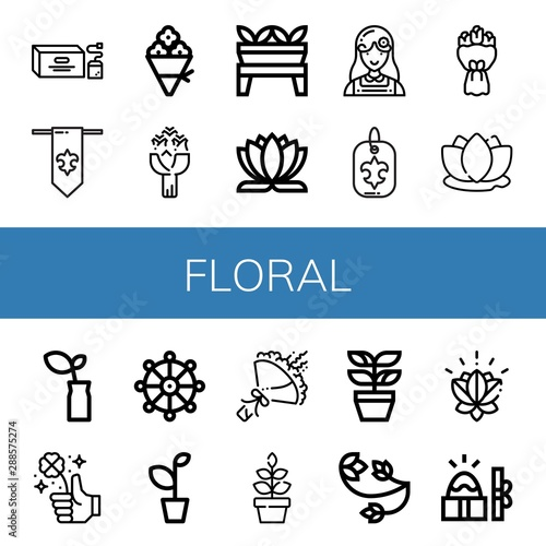 Fototapeta Set of floral icons such as Tea bag, Fleur de lis, Flower bouquet, Roses, Plant, Lotus flower, Florist, Bouquet, Lotus, Clover, Buddhism, Floral design, Easter , floral obraz na płótnie