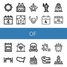 Set Of Of Icons Such As Crown Of Thorns, Th July, National Palace Sintra, Walk Fame, Coat Arms, Skull, Statue Liberty, Great Sphinx Giza, School Bag, Dinning Table ,