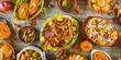 Leinwanddruck Bild - Thanksgiving dinner setting on rustic wooden table.