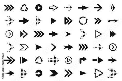 Set of black arrows, forward and back, up and down. Arrow icons, pointers and direction signs. Straight and curved arrows for web design