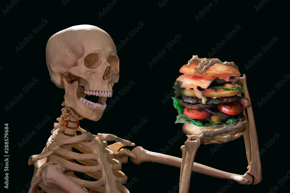 Fototapety, obrazy: horror junk food and unhealthy lifestyle concept