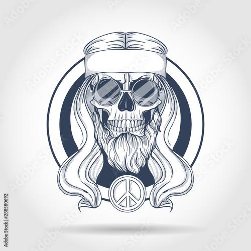 Fototapeta Hippie skull with hair