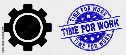 Vector Clock Settings Gear Pictogram And Time For Work Seal Red Rounded Distress Seal With Time For Work Text Vector Combination In Flat Style Black Isolated Clock Settings Gear Pictogram Buy