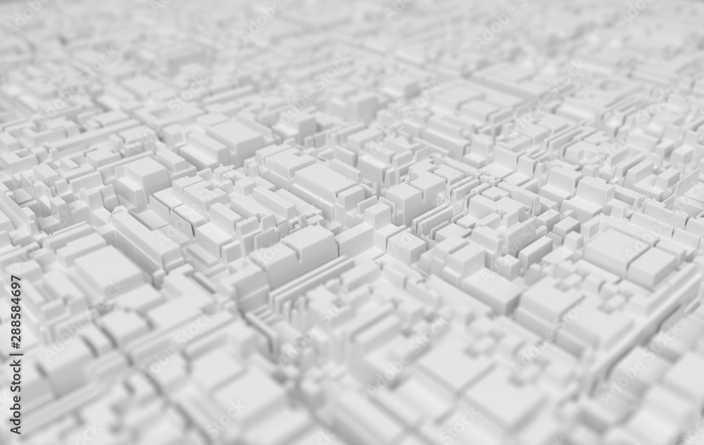 White abstract technological futuristic background. Depth of field effect. 3d rendering
