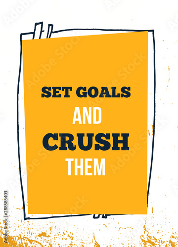 Set Goals success vector quote. Inspirational quote. Wisdom Sentence. Sport gym