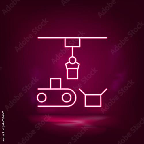 Photo Articulated robot, conveyor robot  vector neon icon