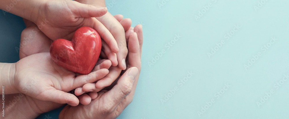 Fototapeta adult and child hands holding red heart on aqua background, heart health, donation, CSR concept, world heart day, world health day, family day, fair trade, organ donor day