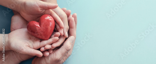 Photo adult and child hands holding red heart on aqua background, heart health, donati