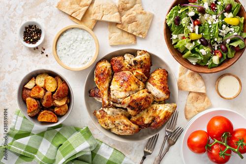 Fotobehang Kip Roasted chicken and potatoes