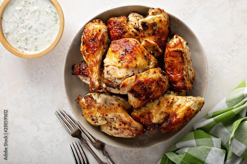 Roasted chicken with tzatziki sauce Wallpaper Mural