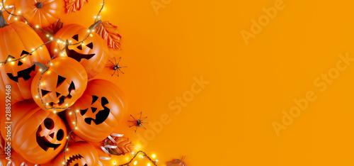 Obraz Happy Halloween party background. 3d rendering - fototapety do salonu