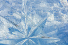 Blue Ice Sculpture. Ice Star. Beautiful Ice. Ice Town. Preparation For The New Year