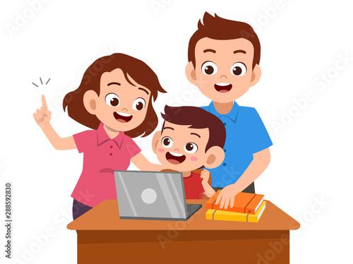 Fotografiet parent help teach kid illustration
