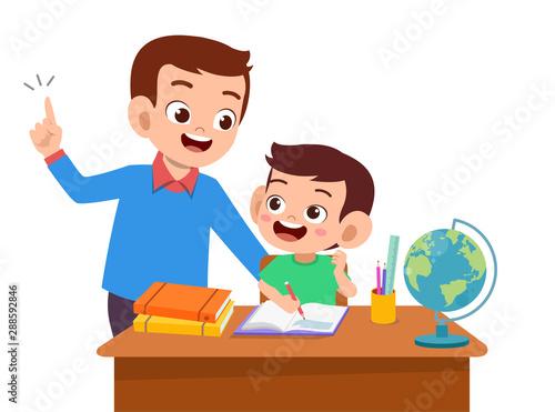 Leinwand Poster parent help teach kid illustration