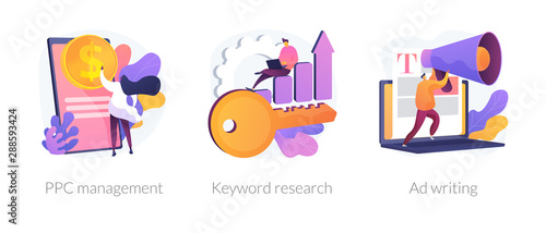 Obraz Content marketing and SEO copywriting flat icons set. Internet advertising and blogging. PPC management, Keyword research, Ad writing metaphors. Vector isolated concept metaphor illustrations - fototapety do salonu
