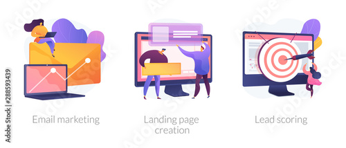 Cuadros en Lienzo Web design and targeted advertisement flat icons set