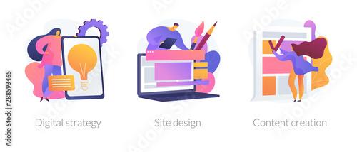 Creative writing, web development and mobile advertising flat icons set Billede på lærred