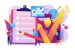 Profit growth strategy idea. Business development solution. Project planning, project plan creation, project schedule management concept. Bright vibrant violet vector isolated illustration