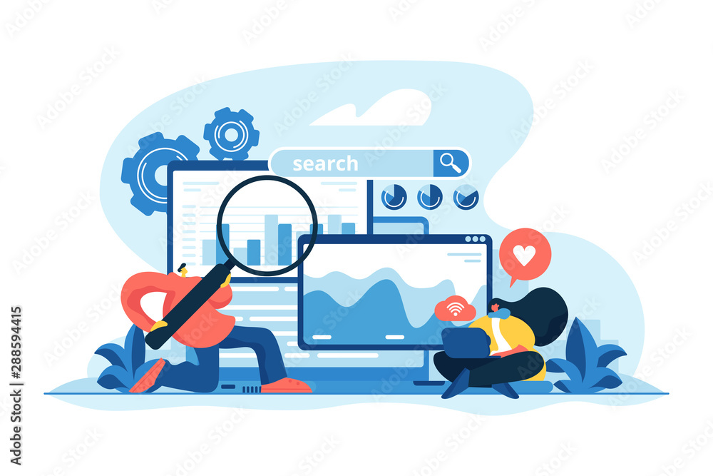 Fototapeta SMM, digital marketing and Internet advertisement. Search engines, online marketing and seo tools, search engines optimization concept. Vector isolated concept creative illustration
