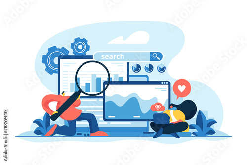 SMM, digital marketing and Internet advertisement. Search engines, online marketing and seo tools, search engines optimization concept. Vector isolated concept creative illustration