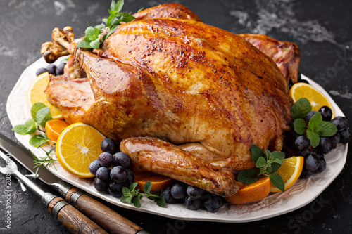 Photo  Whole roasted turkey for Thanksgiving