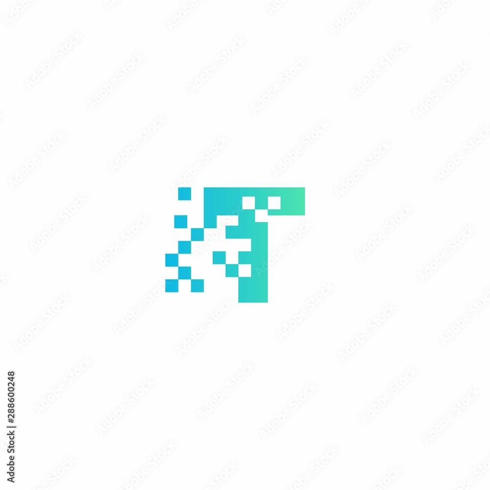 Fototapeta T Letter pixel logo design modern template