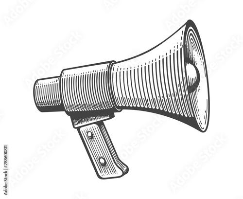 Fototapeta Vintage loudspeaker engraving