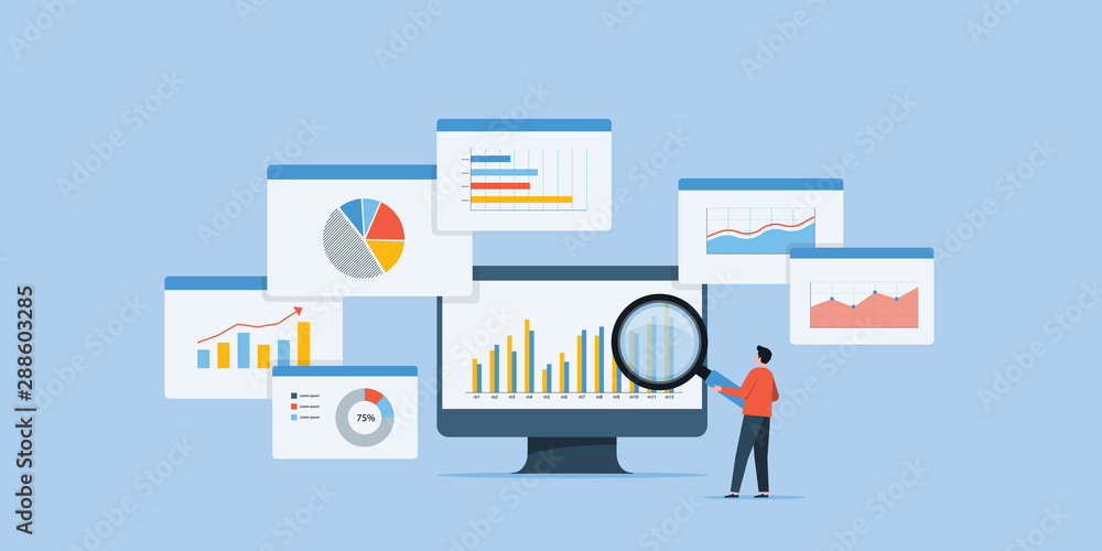 Fototapeta business people analytics and monitoring investment and finance report graph on monitor concept