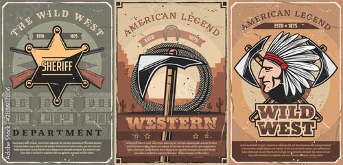 Fotomural  Western sheriff star, guns and tomahawk