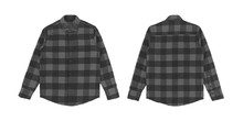 Flannel Long Sleeve Shirt With A Checkered Pattern In Black Grey Color, Isolated On White Background. Set Of Flannel Shirt Front And Back View.