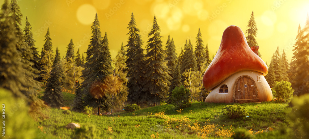 Fototapeta Amazing cute cartoon mushroom house