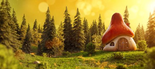 Amazing cute cartoon mushroom house