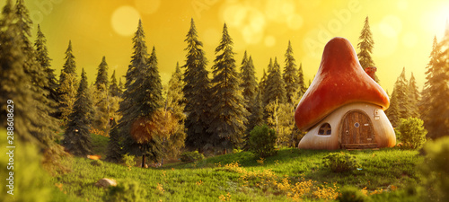 Keuken foto achterwand Honing Amazing cute cartoon mushroom house