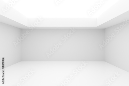 Obraz Empty white room with indirect lighting from the ceiling - gallery or modern interior template, 3D illustration - fototapety do salonu