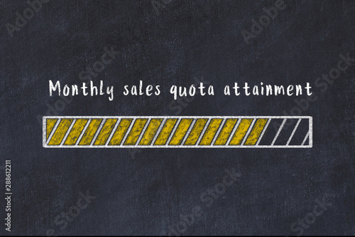 Photo Chalk drawing of loading progress bar with inscription monthly sales quota attai