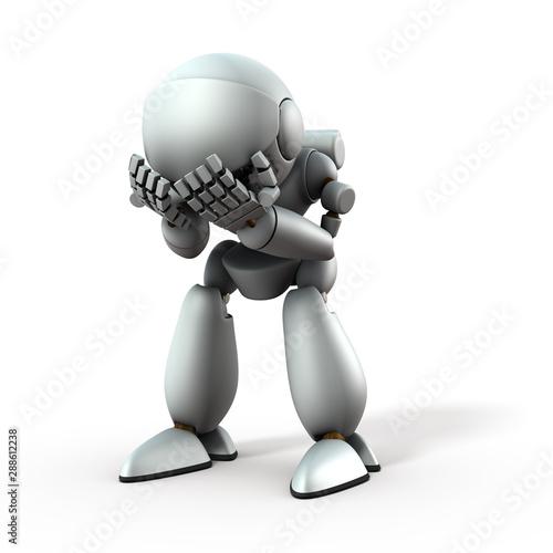 Photo 頭を抱えて苦悩するAIロボット