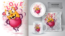 Cute Bee With Heart - Mockup F...