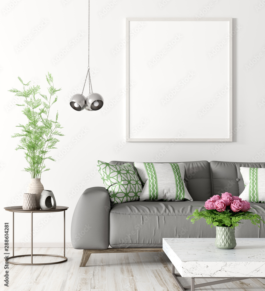 Fototapeta Interior of living room with sofa and mock up poster 3d rendering