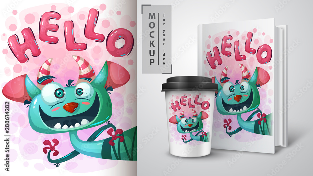 Fototapety, obrazy: Cute monster poster and merchandising