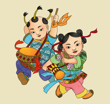 Illustration Of Traditional Chinese Pattern And Drawing -Fengyang Flower Drum