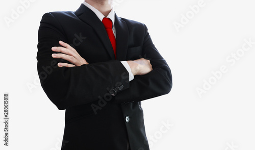 Obraz na plátně Businessman with red necktie and arm crossed, isolated on white background