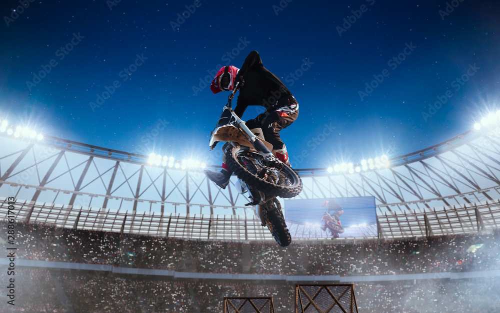 Fototapety, obrazy: Motofreestyle on professional stadium in night. Fmx. Motocross.