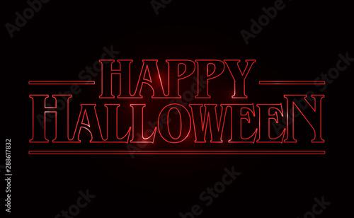 Obraz na płótnie Happy Halloween text design, Happy Halloween word with Red glow text on black background