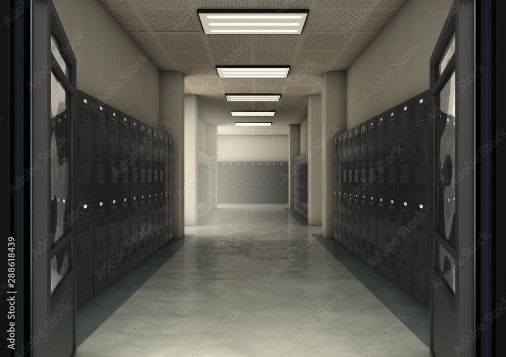 Fototapeta School Locker Corridor