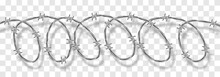 Metal Steel Barbed Spiral Wire With Thorns Or Spikes Realistic Vector Illustration Isolated On Transparent Background With Shadow. Fencing Or Barrier Doodle Element For Danger Facilities Or Prisons