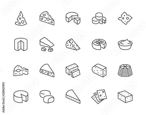 Fototapeta Cheese flat line icons set. Parmesan, mozzarella, yogurt, dutch, ricotta, butter, blue chees piece vector illustrations. Outline signs for dairy product store. Pixel perfect 64x64. Editable Strokes obraz
