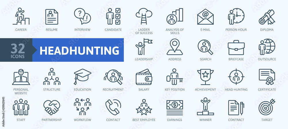 Fototapeta Headhunting And Recruiting minimal thin line web icon set. Included the icons as Job Interview, Career Path, Resume and more. Outline icons collection.Simple vector illustration.