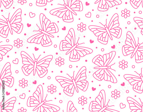 Butterfly Seamless Pattern Flying Insects With Flowers Hearts