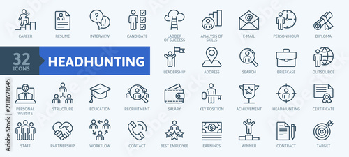 Obraz Headhunting And Recruiting minimal thin line web icon set. Included the icons as Job Interview, Career Path, Resume and more. Outline icons collection.Simple vector illustration. - fototapety do salonu